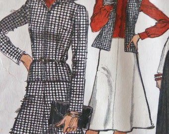 UNCUT Vogue 1970's Two Piece Suit Jacket or Vest with Flared Skirt an Wide Straight Leg Pants 9106 Sewing Pattern Size 14 Bust 36