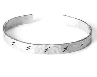 Lightning Bolt cuff - lightning jewelry - bolt bracelet - weather bracelet - lightning bolt jewelry - weather lover jewelry - lightning bolt