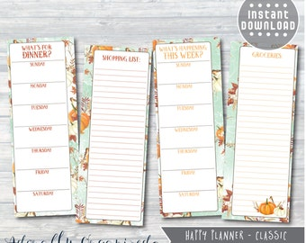 HAPPY PLANNER PRINTABLE Planner Pages / Inserts - 3.5 x 9.25 | Autumn Harvest | Create 365 | Me & My Big Ideas | Menu | Groceries |List