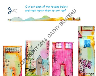 Downloadable House Collage Pieces, Journal Inspiration, Ready to Print, Colorful Houses,  PDF for Houses in It takes a Village Online Class