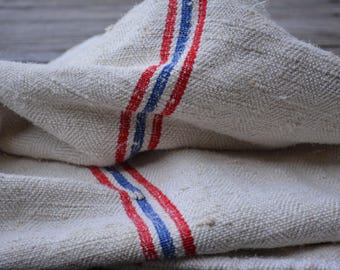 Vintage European Grain Sack with Blue and Red Stripes, Antique Homespun Textile, French Country Decor, Vintage Supplies, Farmhouse Kitchen