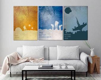 STAR Wars Art, Star wars, Poster Set, star Wars print, Minimalist Art Poster,  Unique BIRTHDAY Gift Boyfriend, Home Decor, Office Artwork