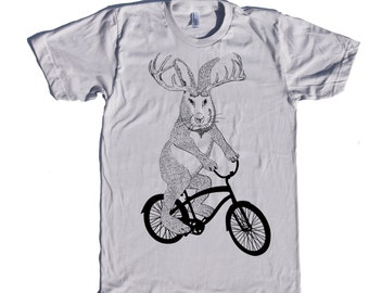 Jackalope on a bike t shirt- american apparel silver- sizes S, M, L and XL- WorldWide Shipping