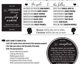 Customizable Wedding Program and Reception Card Printable