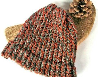 Knit baby hat baby boy hat baby girl hat orange grey baby beanie baby hat hand knit baby hat baby shower gift knitted baby gifts knit