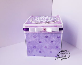 Purple First holy Communion Exploding box/ Card box