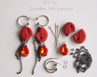 Jewellery Making DIY Earring Kit To Make Red Cinnabar Fish And Rhinestone Earrings