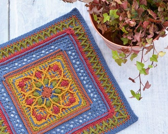 PATTERN - different granny square - afghan block - motif with flower - overlay crochet - instant download