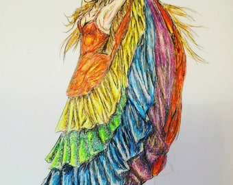 Rainbow Gypsy Dance Study, An A4 Pen and Ink Illustration