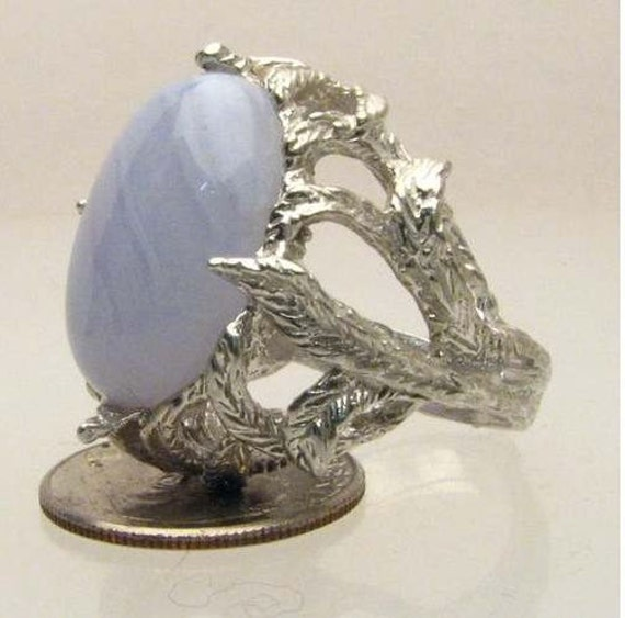 Blue Lace Quartz Agate Cab Solid Sterling Silver Ring.   Custom Sized to fit you.