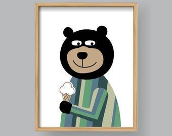 Ice Cream Bear, PRINTABLE animal art Baby room wall art Kid nursery Bear wall art Modern home decor (#P383)