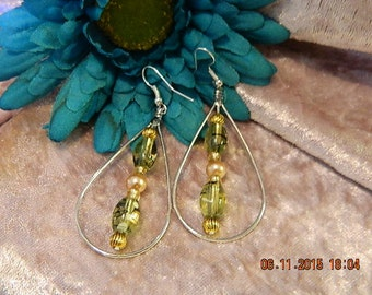 green and gold within silver hoop hook earrings