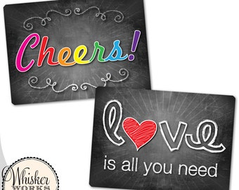 Plastic Photo Booth Prop Sign - Cheers / Love