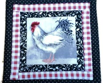 Rooster Pot Holder, Wedding Gift, Hostess Gift, Gift for Baker, House Warming Gift, Fabric Pot Holder, Red/Black Pot Holder