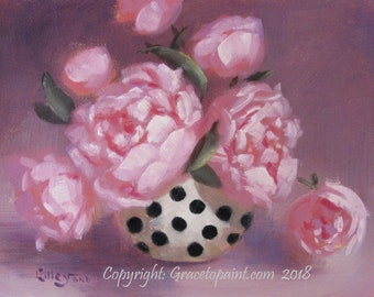 Peony Spots...Original Oil Painting by Maresa Lilley, SND