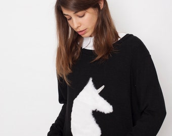 Hipster sweater, unicorn sweater, hand made unicorn, fluffy unicorn sweater, black sweater