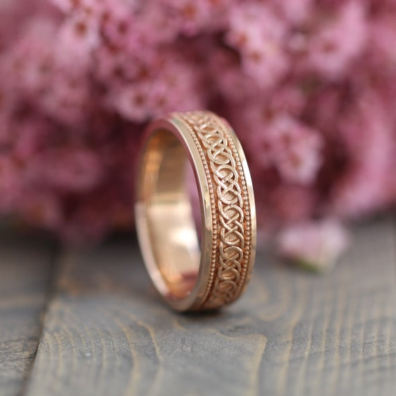Celtic Knot Wedding Band in 14k Rose Gold 6mm Unique Infinity