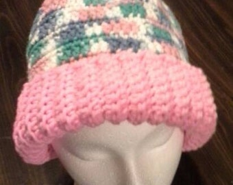Varigated and Pink convertable Hat