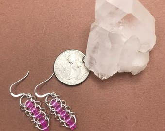 Sterling centipede chainmaille earrings