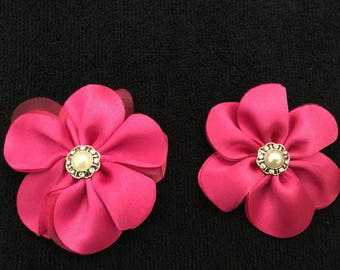 Pink Fabric Flowers Pink  with bead and rhinestone center