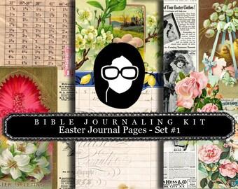 Bible Journaling Kit - Easter Journal Pages #1 - 3 Pg Instant Download - diary pack,  floral digital paper, scripture art, Junk Journal kit