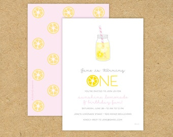 Cute Simple Lemonade Birthday Party Invitation: First Second Birthday Lemonade Stand Lemon Summer Pink Yellow Red Fruit One Two