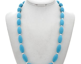 Native American Turquoise Silver Bead Necklace 24 Inches Long Navajo Jewelry