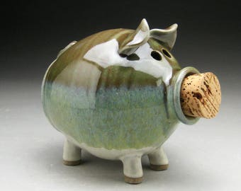 Ceramic Piggy Bank  in Green and White - Made to Order