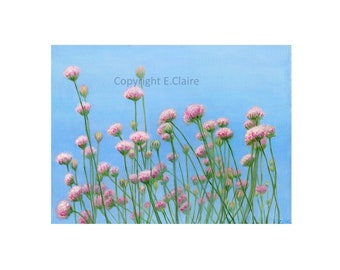 "Meadow flowers greeting card blank inside on textured canvas paper 5 x 7"" pink white and red flowers with clear blue sky, spring flower card"