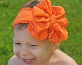 Orange Bow Headband - Orange Floppy Bow - Messy Bow Head Wrap - Big Orange Bow