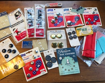 Vintage Mixed Lot Buttons, Notions, Hooks, Mending, Snaps, Retro Sewing Kit