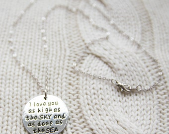 Stainless Steel Stamped Quote Disc Necklace