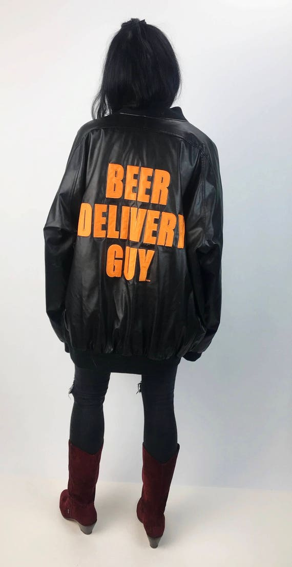 Beer Delivery Guy Faux/Vegan Leather Coat 3XL - Black Bomber Jacket W/ Back patch Plus Size Mens - BEER GUY Soft Pleather Winter Coat 3X