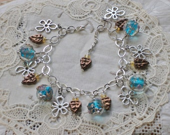 Charm Bracelet, Murano Glass Beads, Lampwork Glass Beads