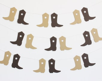 Cowboy Boot Western Party Banner - Customizable Colors