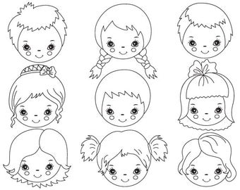 Black & White Kids Faces Clipart - Digital Vector Girl, Boy, Face, Kids Faces Clip Art