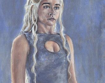 Khaleesi Daenerys Targaryen Game of ThronesAcrylic Painting Art Print 11.7 x 16.5 inches