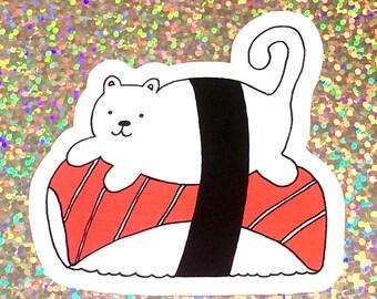 Sushi Cat Sticker, Laptop Sticker, Phone Case Sticker, ipad Sticker
