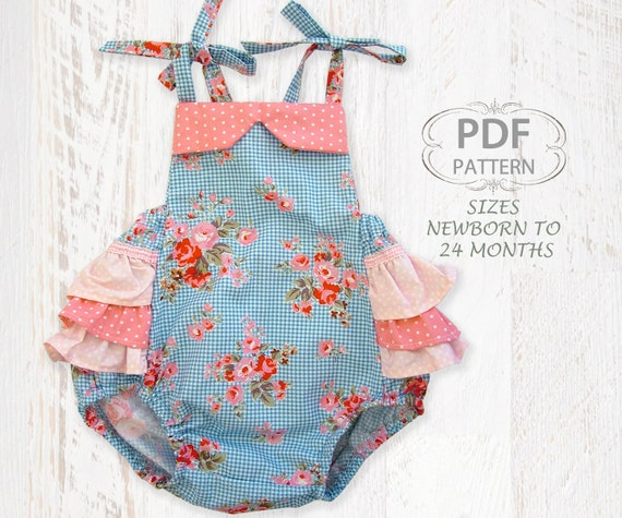 Baby sewing pattern for romper PDF Sewing pattern for baby girls ...
