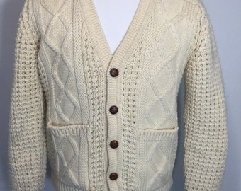 70's 100% wool pullover cable sweater fisherman made in UK unisex YRnQkM8