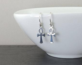 Ankh Earrings egyptian jewelry sterling silver earrings ankh gothic jewelry cross earrins dangle earrings jewelry egypt mythology