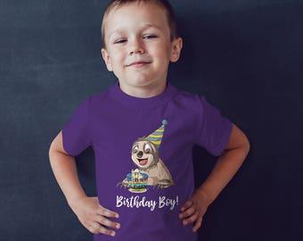 Sloth Birthday Boy T-Shirt, Short Sleeve Kids T-shirt Sizes Youth Small - Youth XL, Sloth Shirt for Boys Birthday