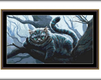 Cheshire Cat Cross Stitch Pattern, PDF counted cross stitch pattern,Alice in Wonderland