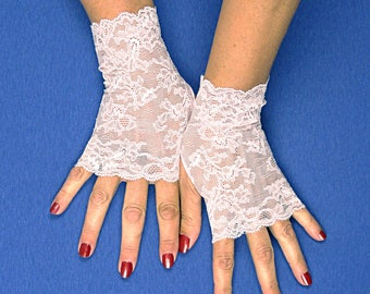 Pale Pink Lace Gloves  - Pink Lace Fingerless Gloves - Pink Fingerless Gloves - Pink Bridesmaid Gloves - Pink Prom Gloves