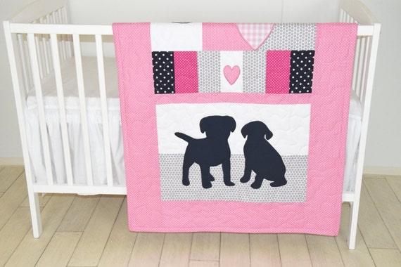 Puppy Baby Quilt, Dog Nursery Blanket, Baby Girl Quilt,  Pink  Crib Bedding, Labrador Blanket, Pink  Gray Dark Blue Blanket, Custom Made