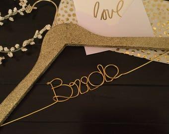 Sparkle Gold Glitter Hanger/ Gold Hooks/Gold Champagne Glitter/Bride gift/Personalized Wedding Hanger/ Brides Hanger/ Bride/Wedding Hanger