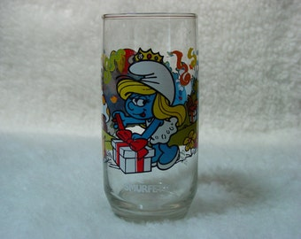 Vintage 1983 Promo Drinking Glass of Smurfette and Her Birthday Party