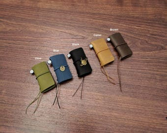 Mini Size Travelers Notebook Genuine Leather Refillable Journal Asian Vintage Handmade