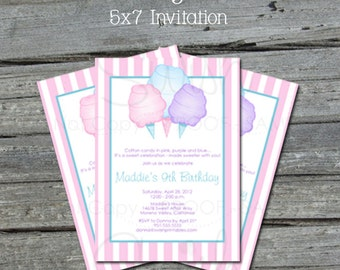 Cotton Candy Birthday Invitation - Pink Cotton Candy theme Party Invite -  Printable Birthday invitation  - digital