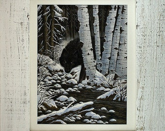 FRAMED Black Wolf Print, 9 X 12 Print, Black Wolf, Whitewashed Barnwood Frame, Wolves, Giclee Prints, Art Prints, Wolf Prints, Ellen Strope